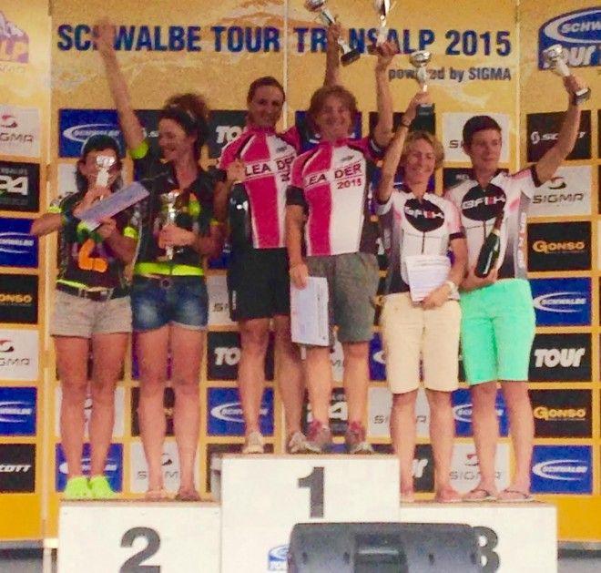 Elke Dom Trans Alp podium