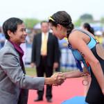 Claire Michel pakte in 2014 al een keer brons in Chengdu (foto:ITU/Delly Carr)