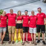 Sebbe, Hans, Becky, Tom, Jim en Stefaan in de Belgium Kona 2018 kleuren (foto: 3athlon.be/Jim De Sitter)