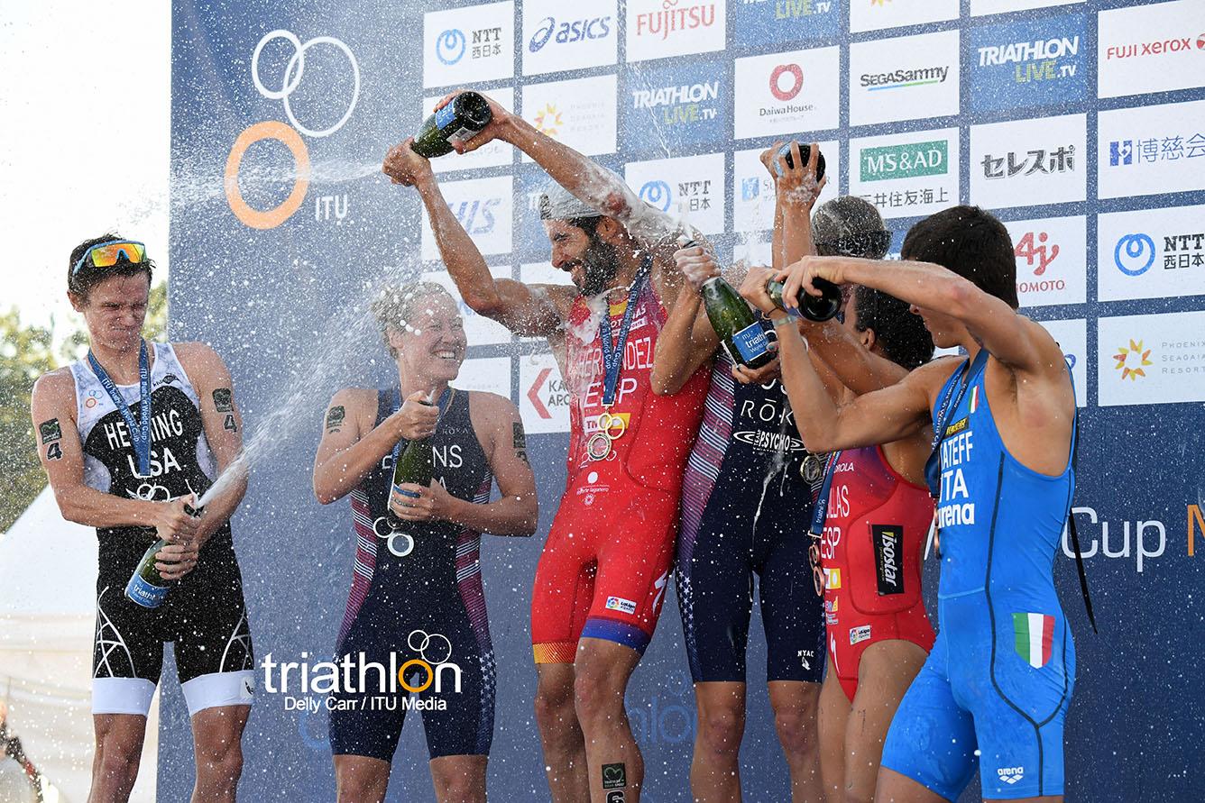 Het podium in Japan (foto:ITU/Delly Carr)