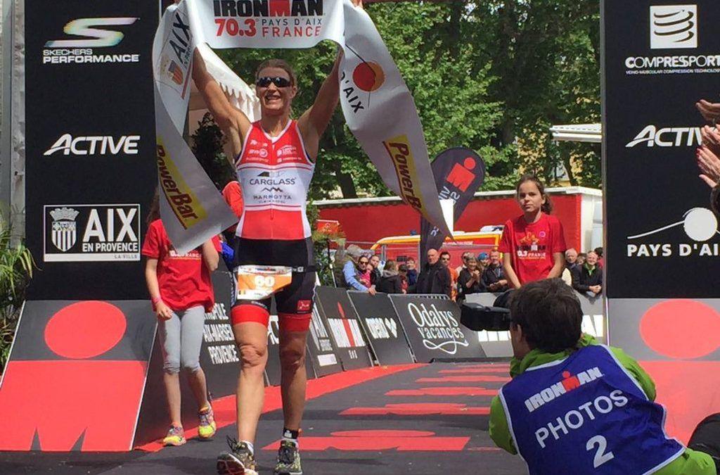 Tine Deckers wint 70.3 (bike-run) Aix